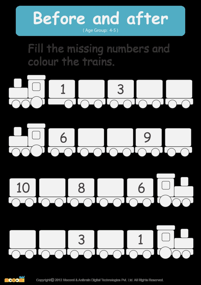 before and after Numbers Worksheet Math for Kids