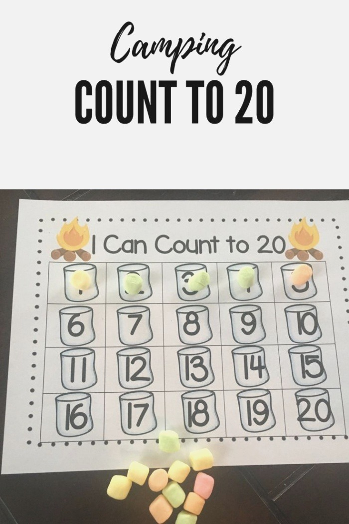 Camping themed Math Counting to 20 with Marshmallows