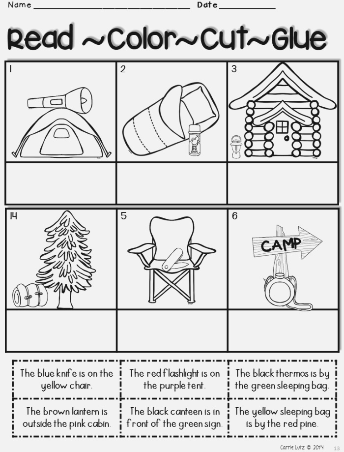 Camping Worksheets End Of Year Packet