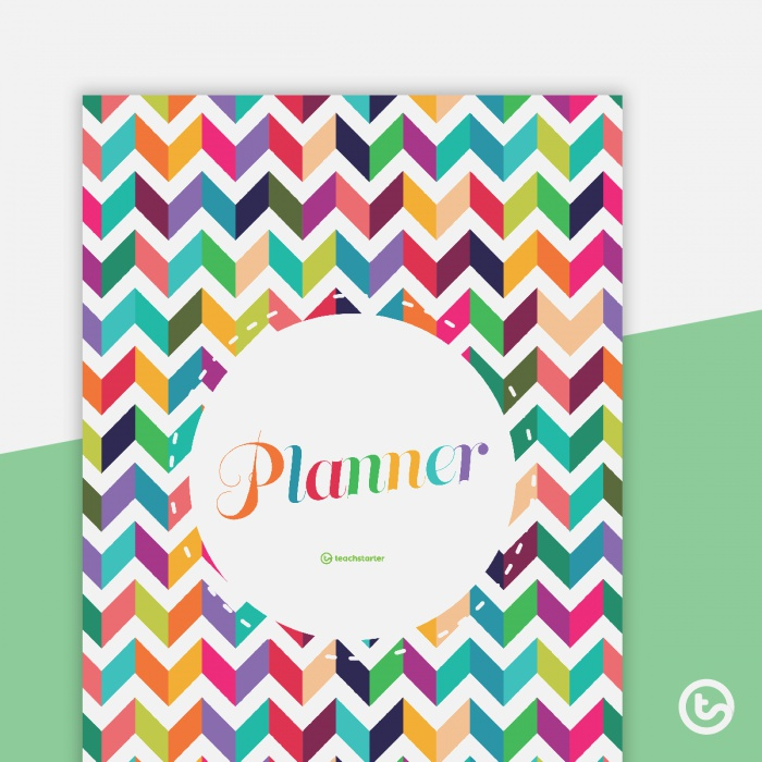 Chevron Printable Teacher Diary Front and Back Cover