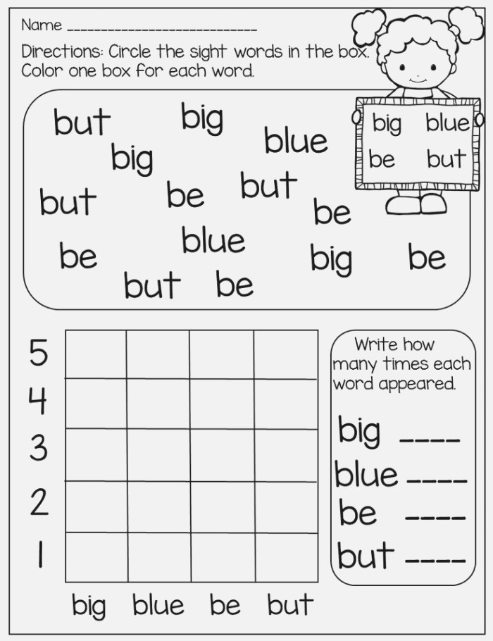 Circle and Graph Pre Primer and Primer Words