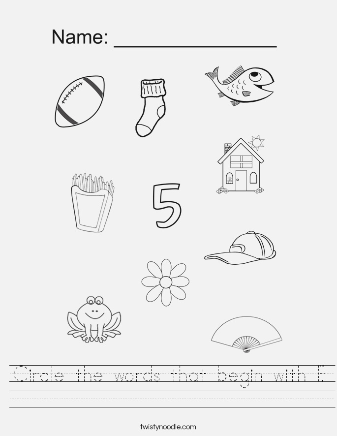 Circle the Words that Begin with F Worksheet Twisty Noodle