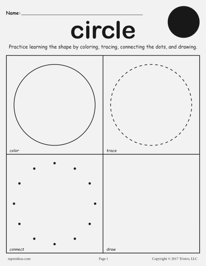 Circle Worksheet Color Trace Connect & Draw – Supplyme