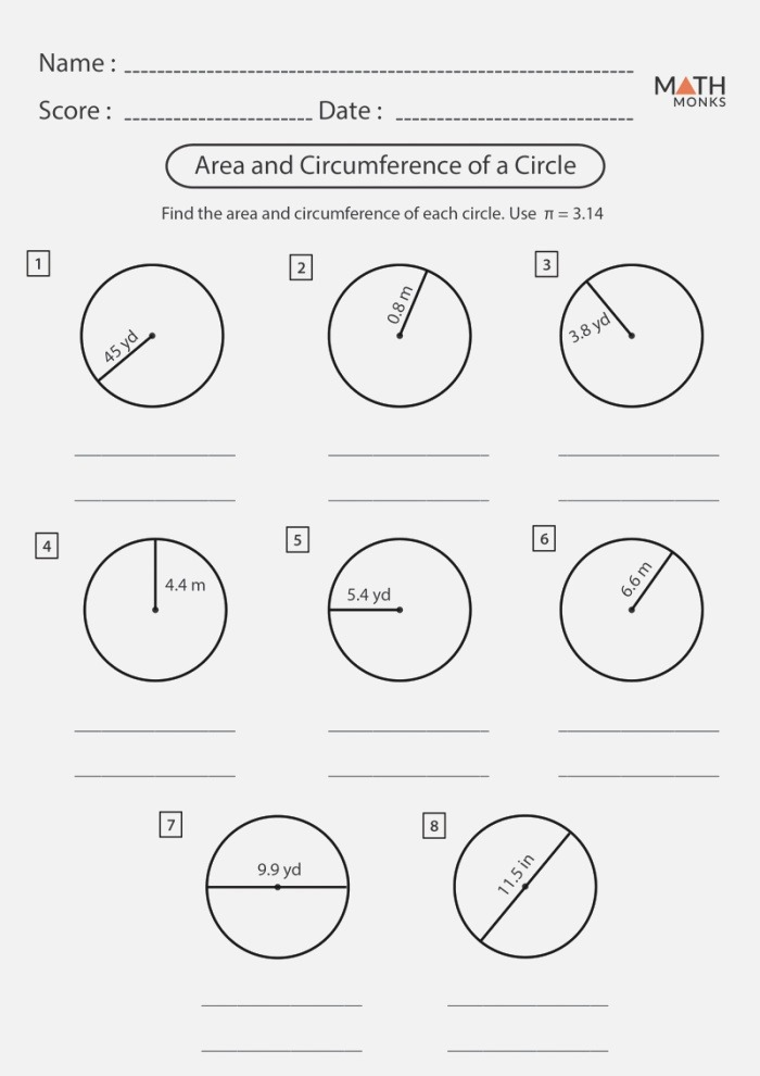 Circumference and area Of A Circle Worksheet