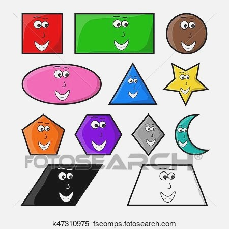 Clipart Of Cartoon Geometric Shapes with Smile Vector