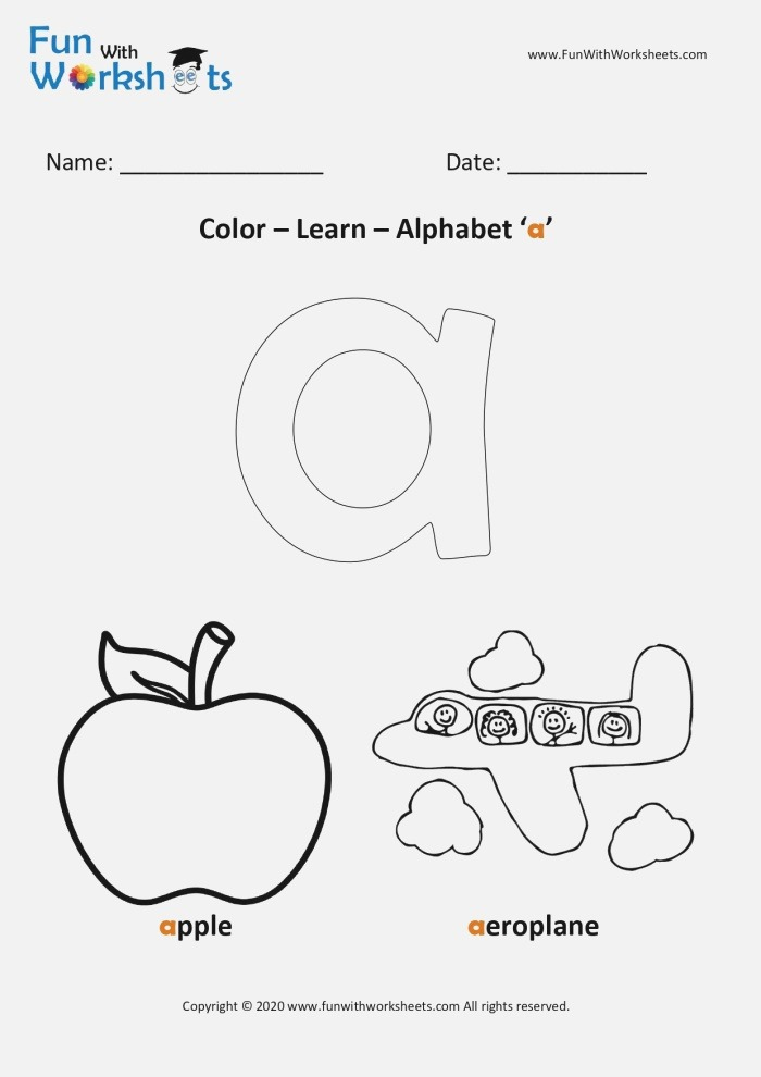 Color and Learn Small Alphabets Letter A Free