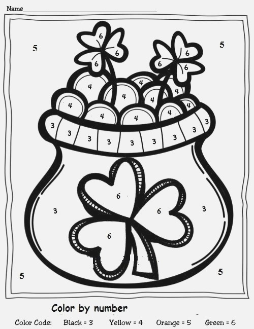 Color by Number St Patrick's Day Worksheet 1
