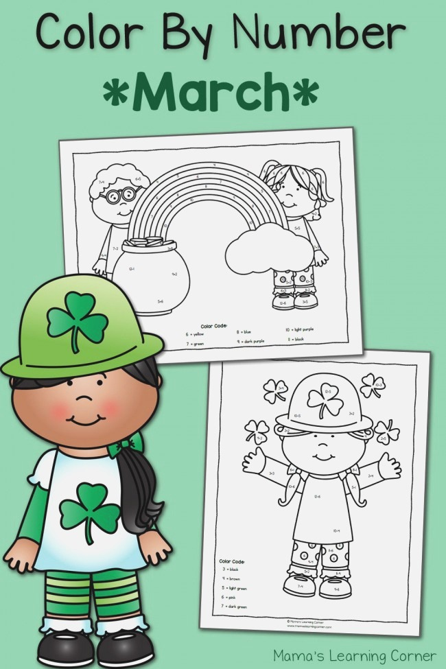 Color by Number Worksheets for March St Patrick S Day
