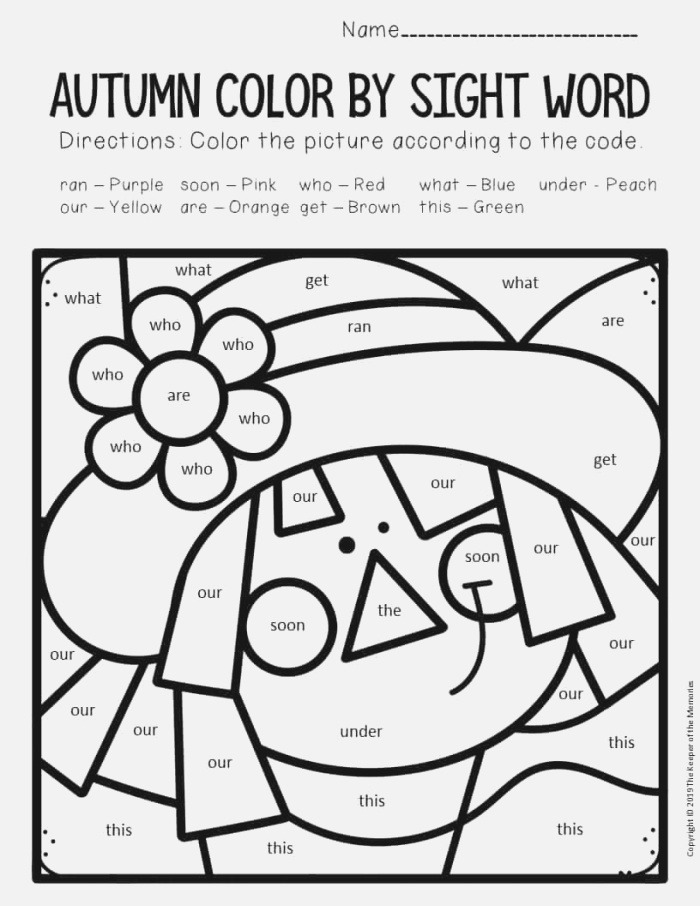 Color by Sight Word Fall Kindergarten Worksheets Scarecrow