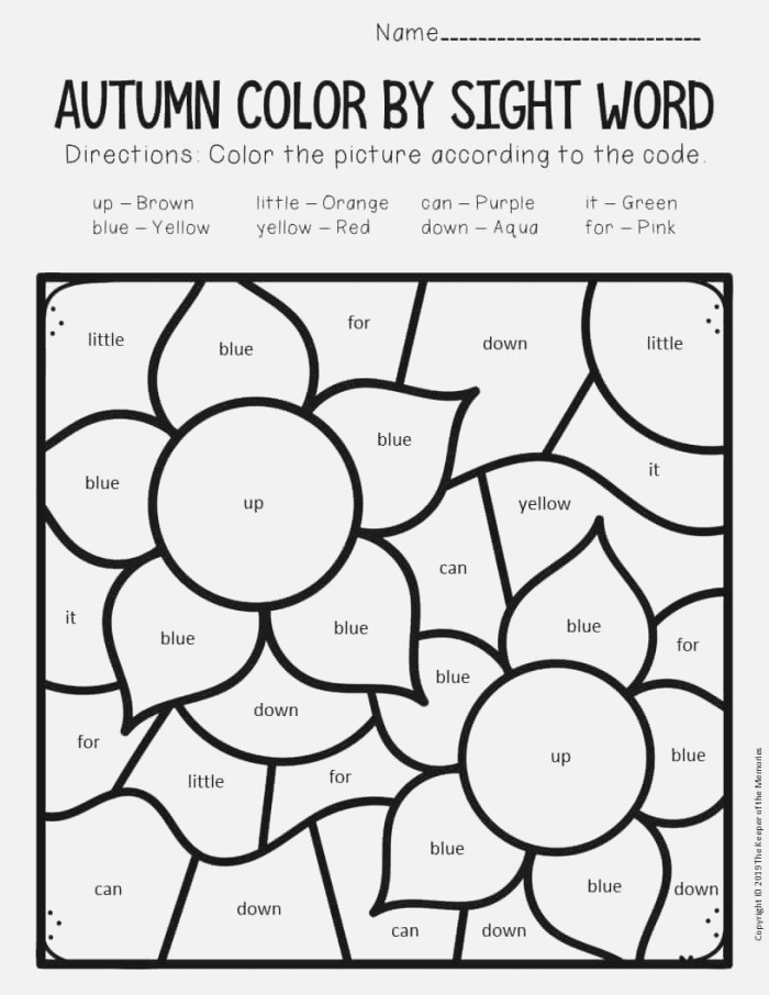 Color by Sight Word Fall Preschool Worksheets Flowers