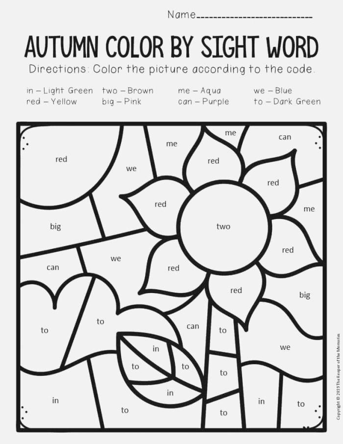 Color by Sight Word Fall Preschool Worksheets Sunflower