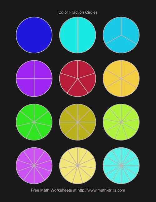 Color Fraction Circles Small Unlabeled Fractions Worksheet