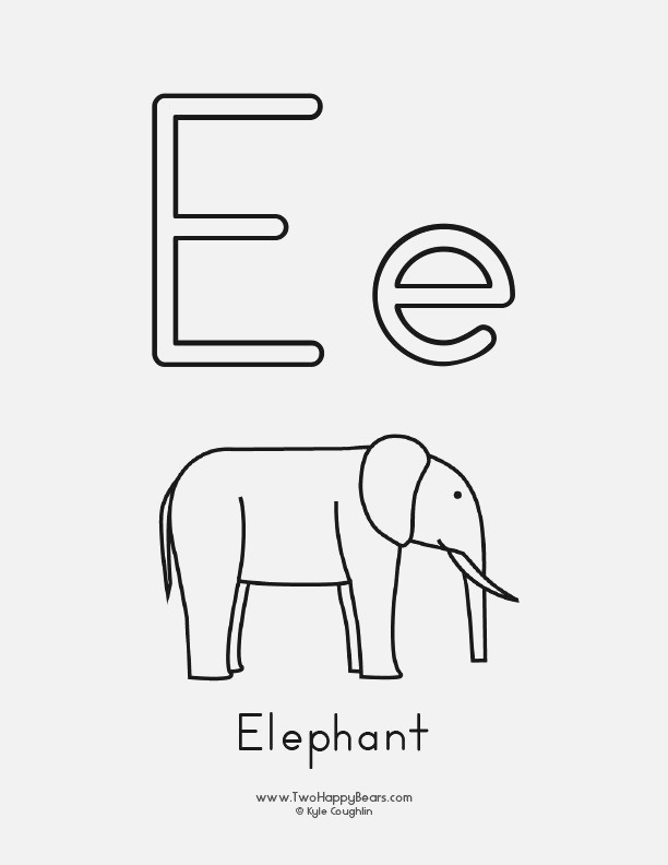 Coloring Page for the Letter E with Upper and Lower Case