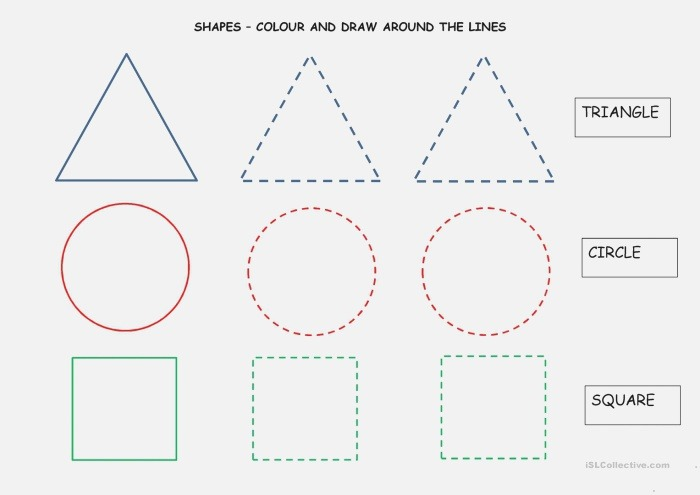 Colour and Draw Shapes English Esl Worksheets for