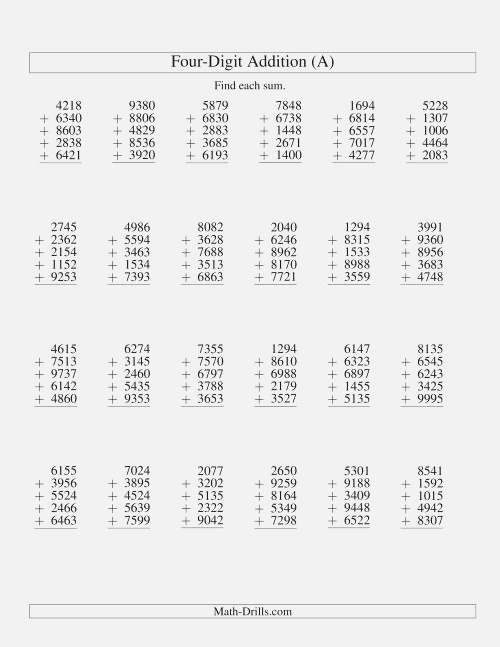 Column Addition Five Four Digit Numbers A