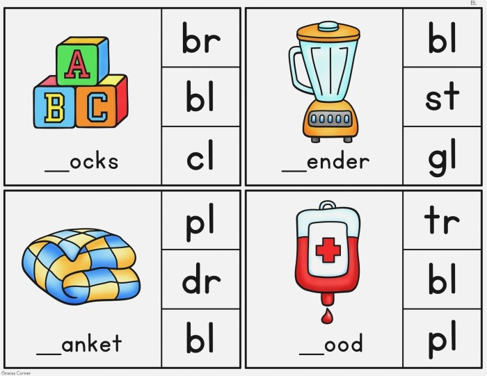 Consonant Blends Clip It Cards L R S Blends Made by