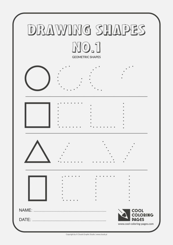 Cool Coloring Pages Geometric Shapes Practice Drawing
