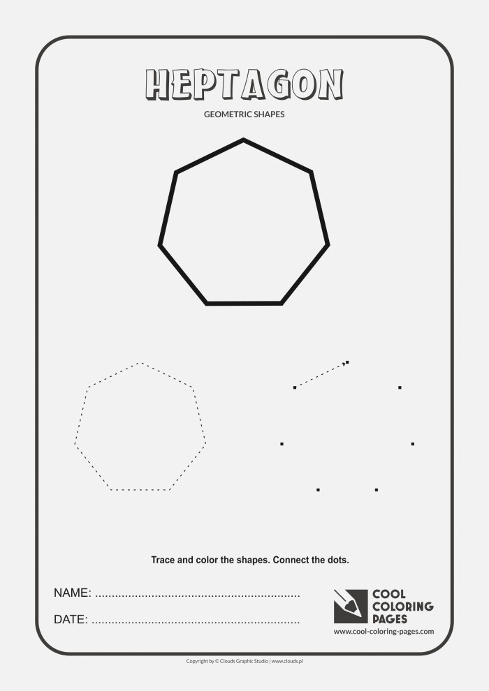Cool Coloring Pages Heptagon Geometric Shapes Cool