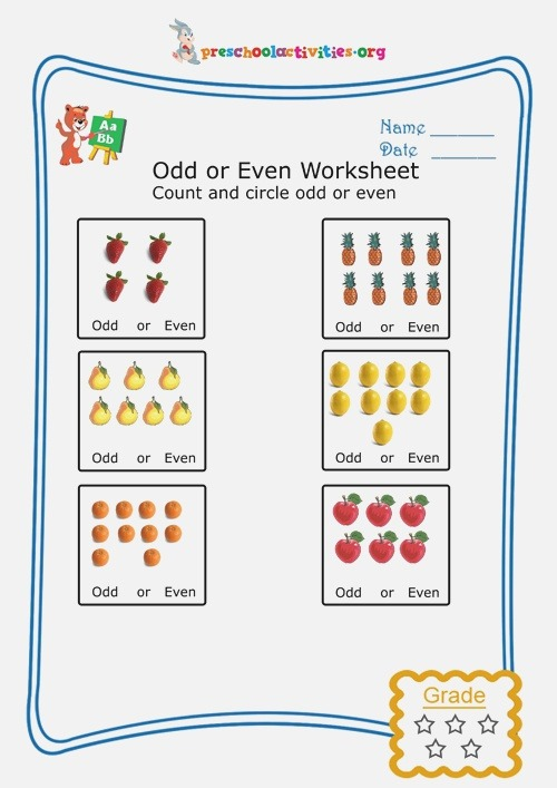 Count and Circle Add or even Worksheet