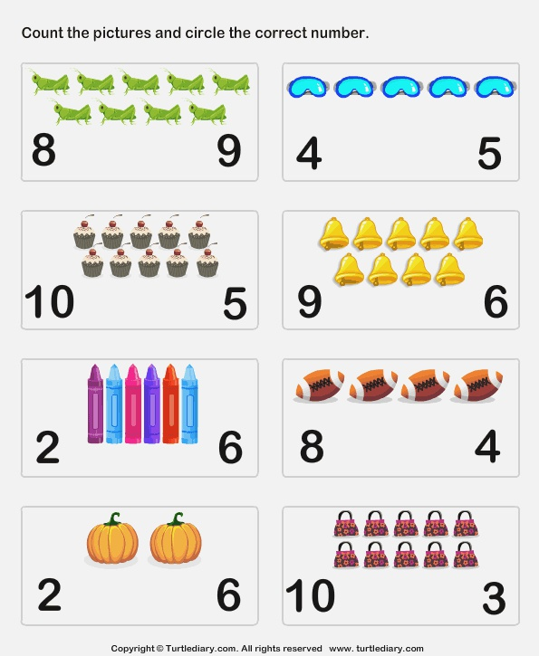 Count Up to Ten Worksheet Turtle Diary