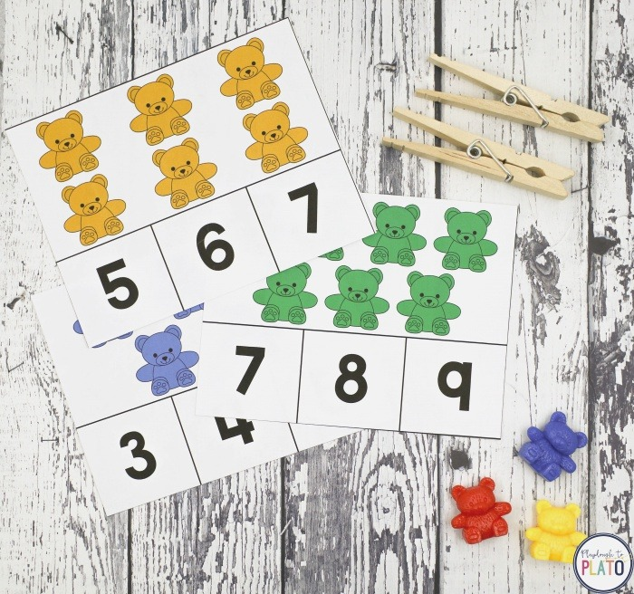 Counting Bear Clip Cards Playdough to Plato