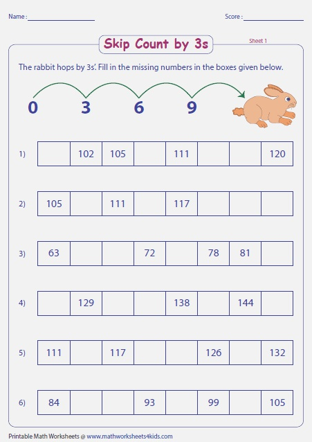 Counting by 3s Worksheet Popflyboys