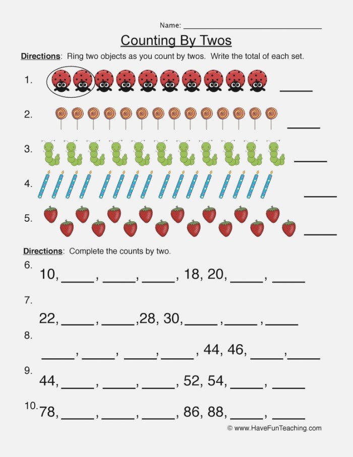 Counting by Twos Worksheet