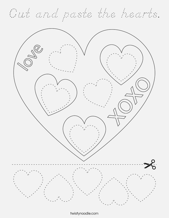 Cut and Paste the Hearts Coloring Page D Nealian