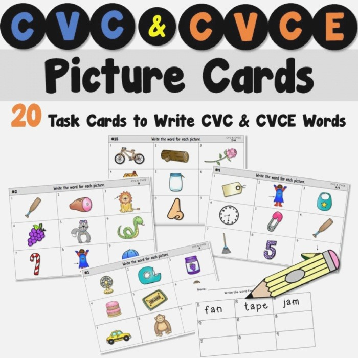 Cvc and Cvce Picture Cards for A Writing Center Teacher