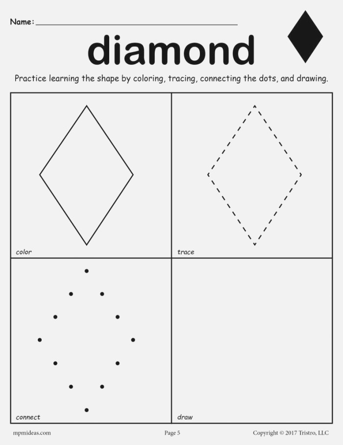 Diamond Worksheet Color Trace Connect & Draw – Supplyme