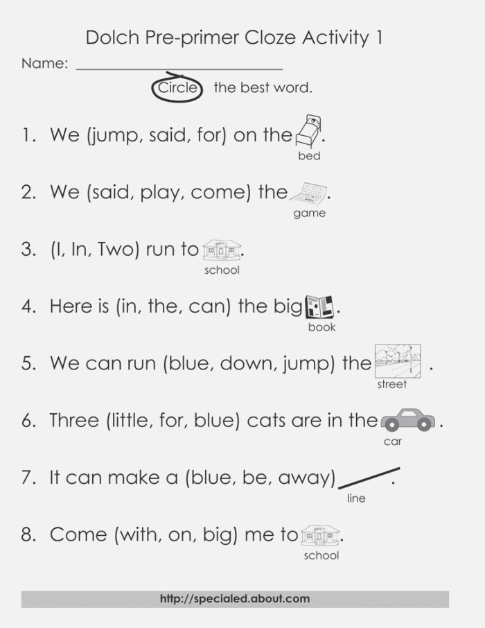 Dolch High Frequency Words Free Printable Worksheets