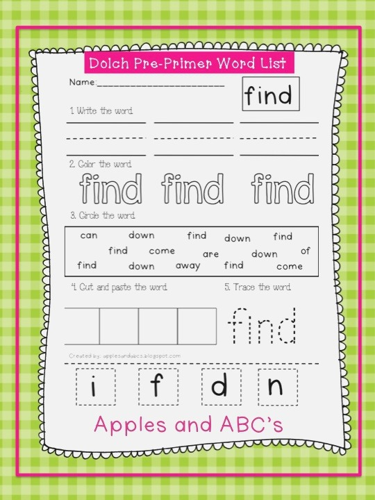 Dolch Pre Primer Sight Word Printables Apples and Abc S