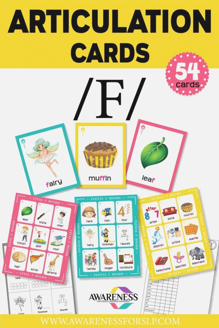 F Articulation Cards and Worksheets for Speech therapy