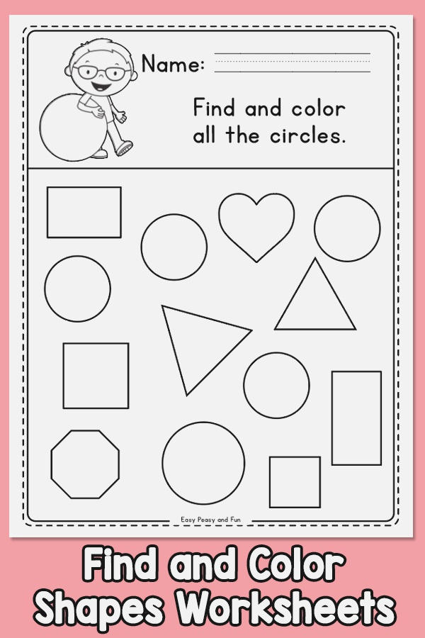 Find and Color Shapes Worksheets – Easy Peasy and Fun