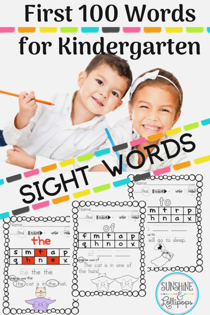 First 100 Fry Words for Kindergarten and First Grade
