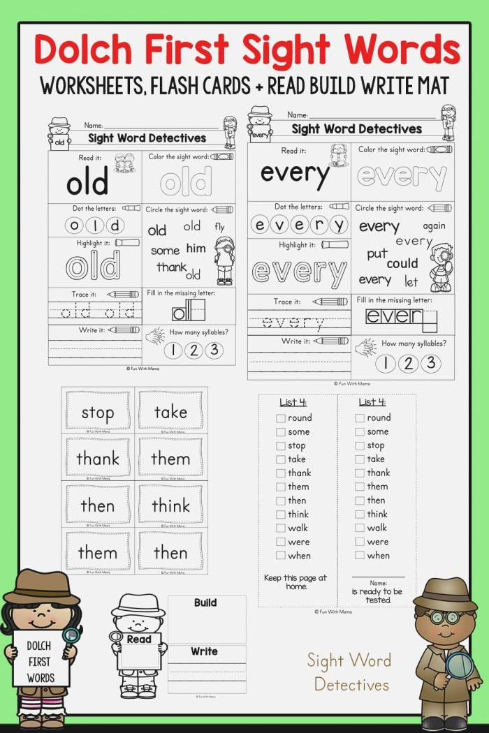 First Grade Sight Words Interactive Worksheets for