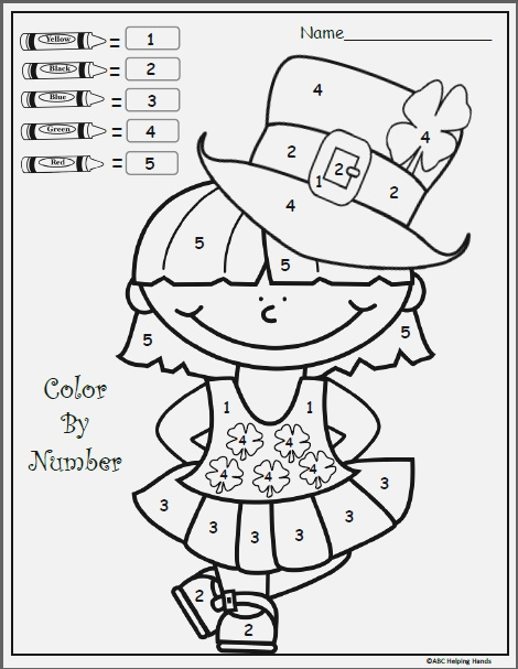 Free Color by Numbers Printable for March Kindergarten