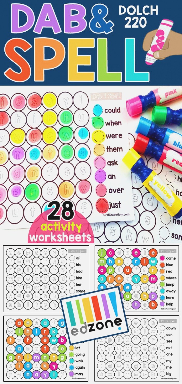 Free Dab and Dot Worksheets Free Spelling Printables for