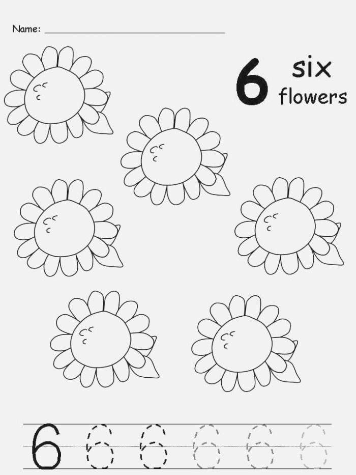 Free Handwriting Number 6 Worksheets for Preschool and