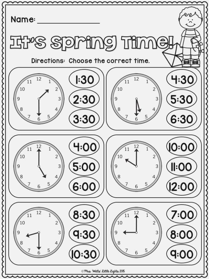 Free It S Spring Time Telling Time to the Hour and Half