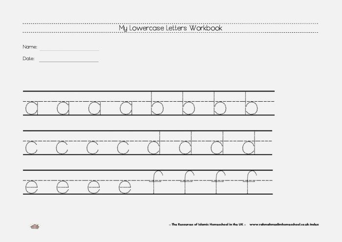 Free Lowercase Letters Worksheets