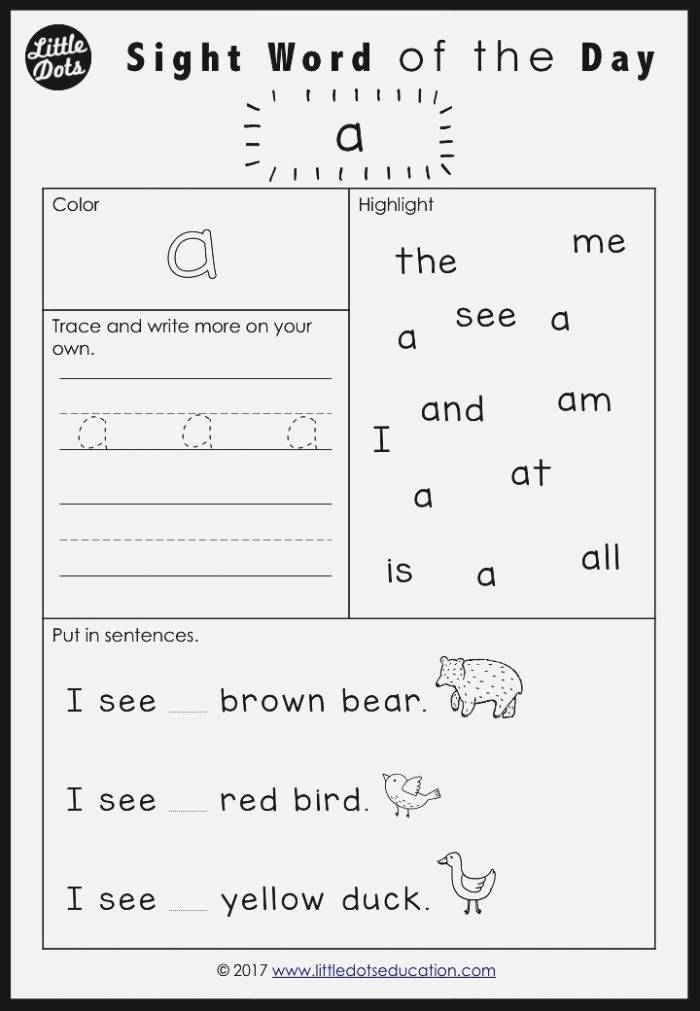 Free Pre K Dolch Sight Words Worksheets Set 1