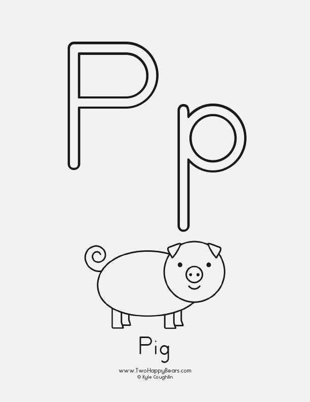 Free Printable Coloring Page for the Letter P with Upper