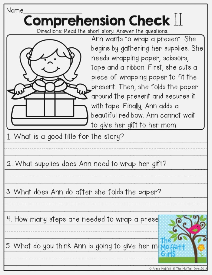 Free Printable Short Stories with Prehension Questions