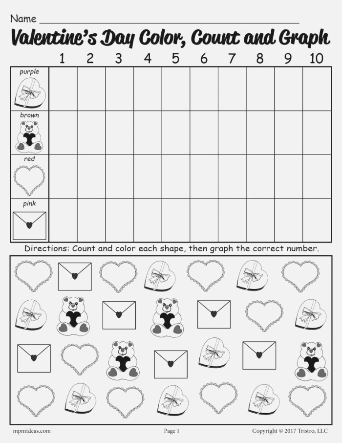 Free Printable Valentine S Day Color Count and Graph