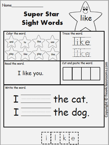 Free Sight Word Practice Like – Free4classrooms