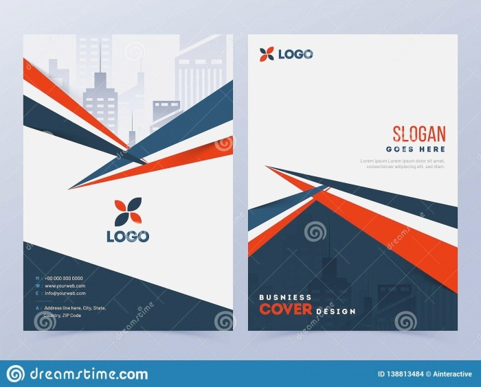 Front and Back View Cover Page Template Design