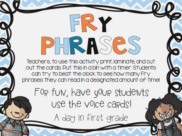 Fry Phrases Pdf for Fluency Practice after Sight Words