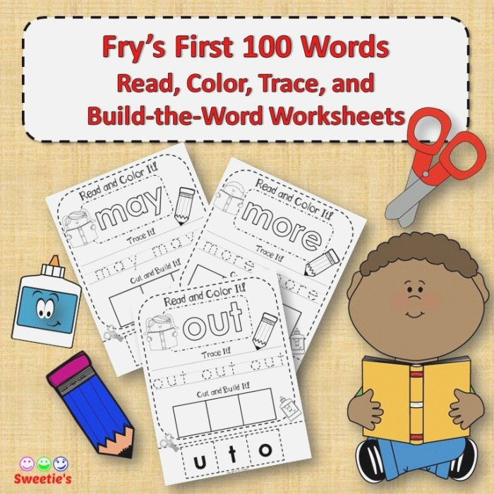 Fry S 1st 100 Words Read Trace Build Worksheets From