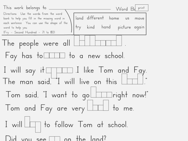 Fry S Sight Words 71 80 Worksheet for 2nd 3rd Grade